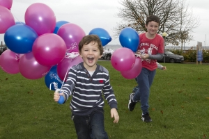 Anam Cara's Annual National Balloon Release Launched its 'Month to Remember' campaign for Bereaved Parents and Siblings  Pictured were, Darragh Ling (aged 5) with his brother Conor aged 9, from Loughrea, Co. Galway, at the Hudson Bay Hotel, Athlone Co. Westmeath where 75 families gathered to launch Anam Cara's 'Month to Remember' campaign with the release of thousands of balloons, each one dedicated to the memory of a son or daughter who died.  All Soul's Day, the day when traditionally remember loved ones who have passed away, this very special event is for all families who have experienced the death of a precious son or daughter. No in its 7th year, the event has seen approximately a 15% increase each year since the first balloon release in 2008.  Picture Colm Mahady / Fennells - Copyright 2014 Fennell Photography