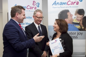 Anam Cara helps employers to support bereaved parents 1,900 families bereaved each year in Ireland.   Anam Cara, the national organisation that provides support services to bereaved parents and families, published their best practice guidelines for employers to support parents whose child has died. The guidelines address relevant and sensitive concerns and advise employers how to proceed immediately after the death of an employee's son or daughter and what to do before and after they return to work. Pictured from left: Danny McCCoy, Chief Execitive IBEC, Ian Talbot, Chief Executive Chambers Ireland and Sharon Vard, Chief Executive Anam Cara.  Picture Colm Mahady / Fennells - Copyright 2014 Fennell Photography
