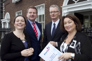 Anam Cara helps employers to support bereaved parents 1,900 families bereaved each year in Ireland.   Anam Cara, the national organisation that provides support services to bereaved parents and families, published their best practice guidelines for employers to support parents whose child has died. The guidelines address relevant and sensitive concerns and advise employers how to proceed immediately after the death of an employee's son or daughter and what to do before and after they return to work. Pictured at the launch in IBEC were: Patricia Callan, from ISME Danny McCoy IBEC, Ian Talbot, Chambers Ireland and Sharon Vard, Chief Executive Anam Cara.  Picture Colm Mahady / Fennells - Copyright 2014 Fennell Photography