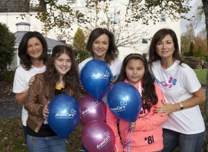 The Vard Sisters, back from left, Cathy, Lisa and Wendy, with, front row from left, Grace Page, from Mountrath, Co Laois and Felin Neiland, Cabinteely Anam Cara Balloon Launch Copyright Fennell Photography 2015 Iain White/Fennell Photography
